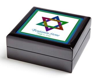 Star of David keepsake box, Bar Mitzvah gift, Judaica home decor, gift for Jewish boy, Jewish star storage box, original art, personalized