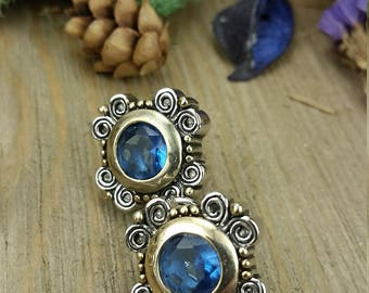 Vintage Sapphire Silver and Gold Earrings