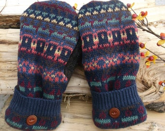 Sweater Mittens gray, brown, purple, green and orange design, made from recycled upcycled sweaters, fleece lined