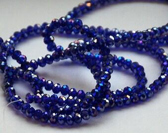 25 pcs 4x3mm Transparent Blue Sapphire Cobalt Blue AB Rondelle Glass Beads BS-AB