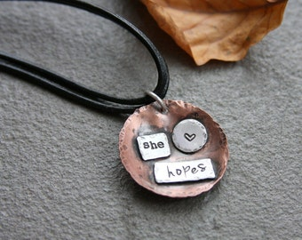 Copper and sterling silver necklace, hand stamped necklace, artisan, inspirational, leather necklace, leather jewelry, hand stamped jewelry