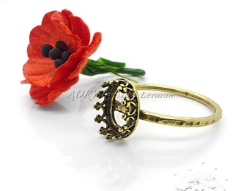 1pcs Antique Brass Color Wire Crown Bezel Ring Setting for 8x6mm Flat Back Cabochon, Made in Israel, US Size 8, 2905ABR, Antique Brass Color