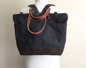 CUSTOM BACKPACK OPTION | Convertible Backpack Tote Bag | Lightly Waxed Canvas and Leather | Custom Order