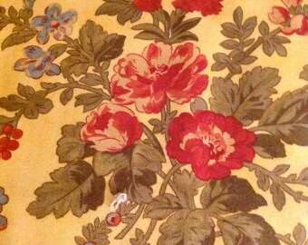 Vienna Nights,  by 3 Sisters for Moda, Yellow fabric with Red and Blue Flowers, Fabric by the Yard, Cut from the Bolt, OOP
