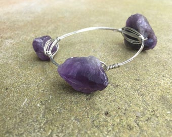 Raw Amethyst Bangle - Wire Wrapped Bangle - Amethyst Bracelet- Wire Bangle -  Wire Wrapped Bracelet