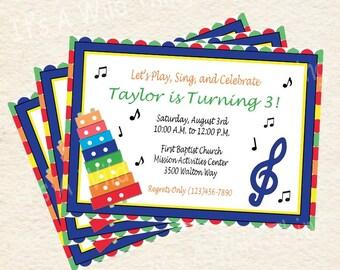 DIY Printable Music Theme Invitations