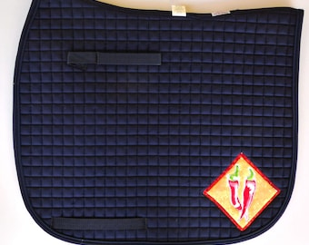 Be Fearless! Show your Courage! Navy Dressage Saddle Pad with Chili Pepper Medalions  HD-89