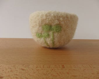 Spring Sprouts Small Felted Woolen Bowl