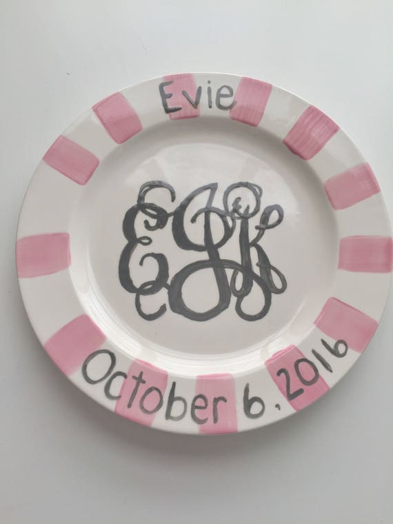 Hand painted, monogram plate, custom, ceramic plate, custom child's plate, Monogrammed baby plate, Boy plate, Girl plate, initial plate