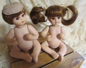 VINTAGE porcelain Bisque boy and girl doll / VTG