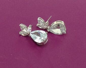 CZ Drop Earrings, Dangle Earrings, Crystal Drop Earrings, Bridal Earrings, Wedding Earrings, Cubic Zirconia Earrings,