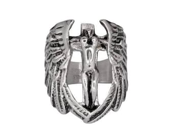 Men's Stainless Steel Guardian Angel Ring Motorcycle Jewelry