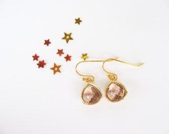 Peach Flower Girl Earrings Blush Gold TinyTeardrop Earrings Peach Glass Small Earrings Champagne Earrings Flower Girl Earrings