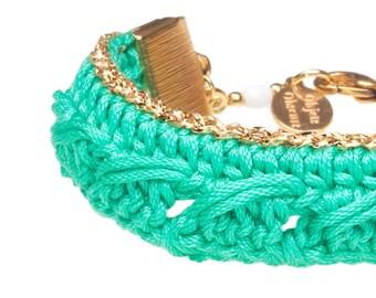 Crochet Hippie Chic Bohemian mint green and gold bracelet KSENA