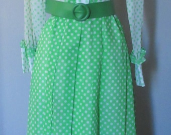 70s Green and White Polka Dot Maxi Dress