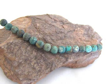 16 Dark African Turquoise Matte Round Space Beads - Small Green Varied Greens With Matrix - Olive, Turquoise, Rust 6 mm