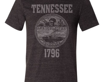 Tennessee State Seal T-Shirt. Vintage Style State of Tennessee Unisex Men's Slim Fit and Women's Tee