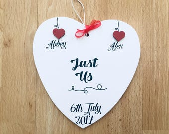 Personalised Valentines just us hanging heart