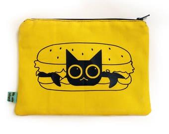 Hamburger Cat Zipper Pouch -  Makeup Bag, Cat Pencil Case, Hamburger Pouch, Cat Travel Bag, Cat Cosmetic Bag