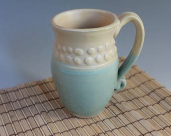 Pottery mug - green and yellow - large - hot cocoa mug - 12 oz
