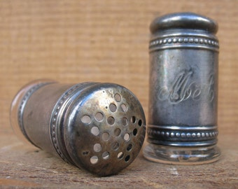Antique Silver and Crystal Salt and Pepper Shakers dated Oct 31, 1895