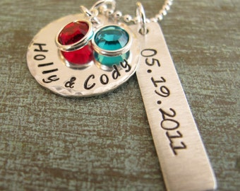 Mother's Necklace, 2 names, 3 names, Engagement Necklace, Wedding Gift, Mother, Hand Stamped, Sterling Silver