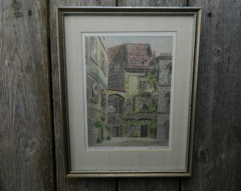 Vintage Signed Original German Street Scene Painting