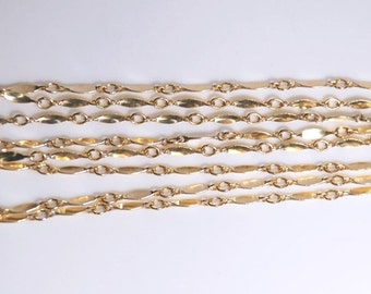 1 foot: 14K gold filled bar chain for jewelry making, 9mm X 1.5 mm link