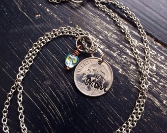 Personalized coin necklace best Mom or  family names lucky dime
