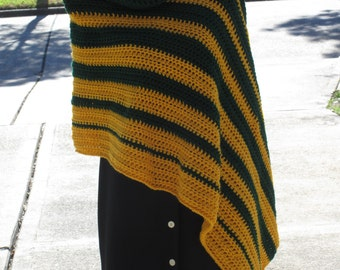 Crochet Poncho: Custom Striped Asymmetrical Poncho