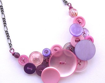 Light Pink and Lilac Lavender Vintage Button Statement Necklace -  Clearance Sale Button Jewelry