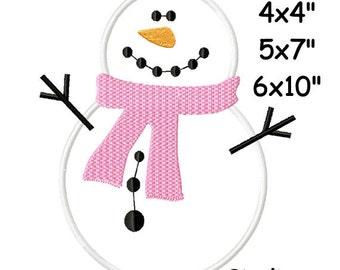 Christmas Snowman Machine Embroidery Applique Digital Pattern 4x4 5x7 6x10 INSTANT DOWNLOAD