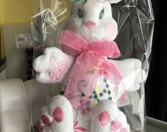 Embroidered Pink or Blue Rabbit Very Soft - Handmade