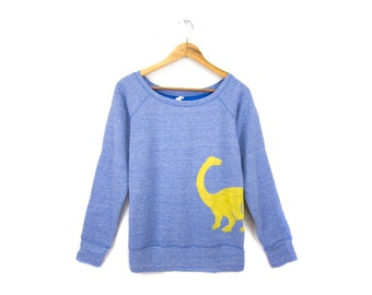 Dino Sweatshirt- Scoop Neck Relaxed Fit Raglan Sweater in Heather Blue and Yellow - Women's Size S-2XL
