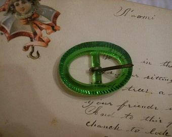 Vintage Green Czechoslovakia  Belt Buckle