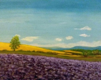 "Lavender Fields Landscape Oil Painting Country Landscape 11"" X 14"" Wooden Panel"