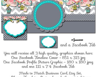 Bordhouse Facebook Timeline Set - Teal Chevron Birdhouse - Customize for your Facebook Business or Personal Page