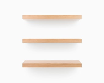White Oak, Cut-to-Length Floating Shelves (finished wood + Patented HD bracket system = ready to hang kit)