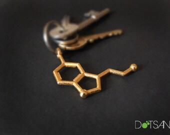 Serotonin Molecule 3D Printing Keychain Gold Steel