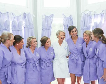 Bridesmaid Gift - Bridesmaid Robes, Set of Monogrammed Robes - Short Kimono Waffle Weave Robes for Wedding Party Bridesmaids Gifts