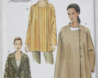 """Sz 8,10,12 Bust 31.5"""" - 34"""" Very Easy Vogue Sewing Pattern 8007 Loose-fitting Jacket with Asymmetrical Closure"""