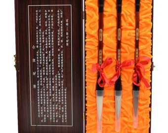 Free Shipping Chinese Calligraphy Material  Pure Weasel Pure Goat Hair + Goat Weasel Brush Set / Ebony Red Sandalwood- 0062P