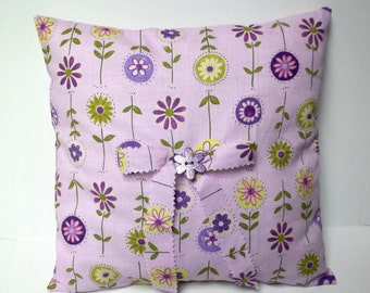 Flower Decorative Pillow Girl's Room Decor Lavender Purple Feminine Decor