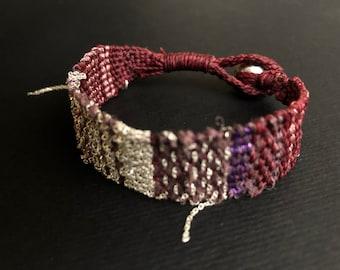 Loom woven bracelet. Sterling silver chain woven bracelet.