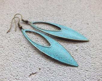 Boho Earrings/Patina Earring/ Metal Earrings/Tribal Earrings/VERDIGRIS