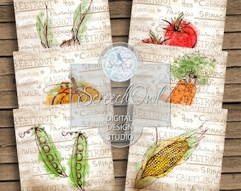 Coaster Collage Sheet, Vegetable Images, Paper Craft Supplies, Printable Coasters, Instant Download
