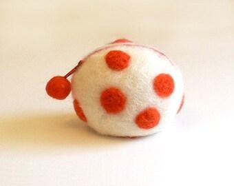 SALE -- Wool coin purse -- orange dots
