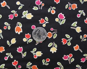 SALE Sanae, Oh My, Tulips Black Fabric - REMNANT Size 26 Inches by 44 Inches