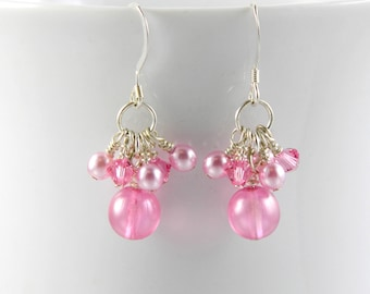 Pink Cluster Dangle Earrings with Sterling Silver Ear Wires