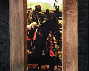 Derby Horse and Jockey Wooden Art
